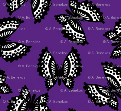 Black Lace Butterflies - Purple