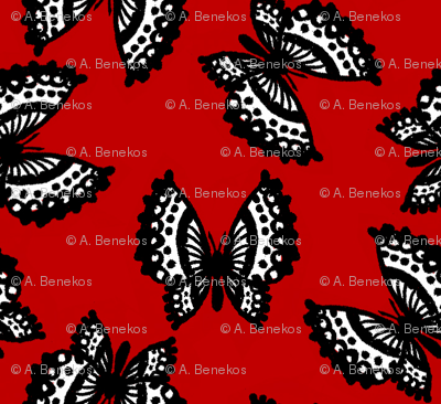 Black Lace Butterflies - Red