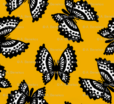Black Lace Butterflies - Yellow