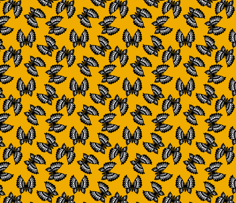 Black Lace Butterflies - Yellow fabric by siya on Spoonflower - custom fabric