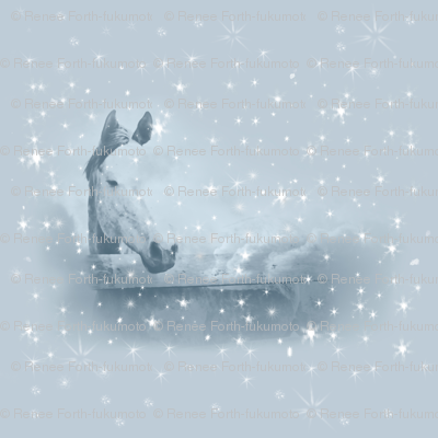 Horse Blue Winter Christmas