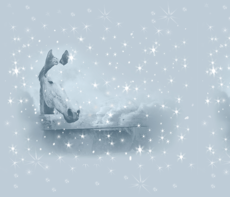 Horse Blue Winter Christmas fabric by theartfulhorse on Spoonflower - custom fabric