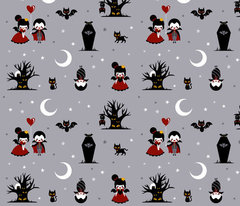 Dracula in Love fabric by katiavial on Spoonflower - custom fabric