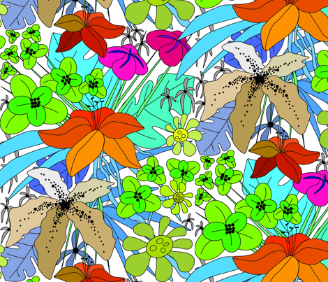 Tropical_flowers fabric by tinawilson on Spoonflower - custom fabric
