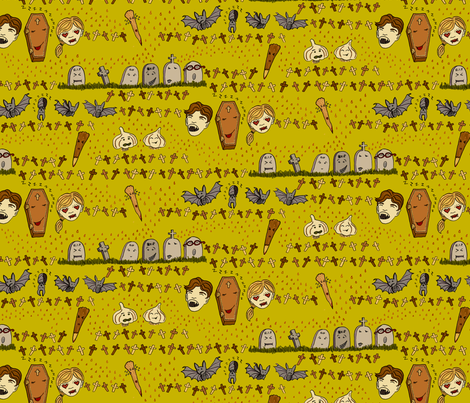 Vampire Kawaii fabric by emuattacks on Spoonflower - custom fabric