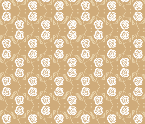 White Rose, tan fabric by cindylindgren on Spoonflower - custom fabric