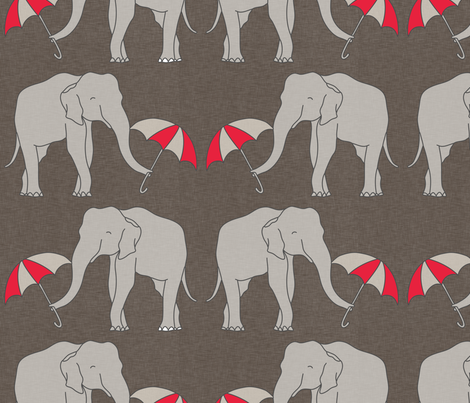 elephant and umbrella rustic large fabric by holli_zollinger on Spoonflower - custom fabric