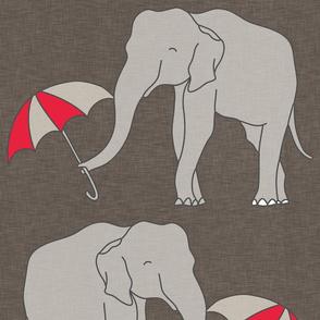 elephant and umbrella rustic large