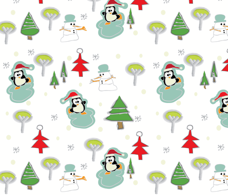 Peguin Pond fabric by sbd on Spoonflower - custom fabric