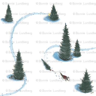 8 x 8 in. Xmas Pulling Christmas tree Siberian HuskySiberian husky pulling Christmas tree #2-revised