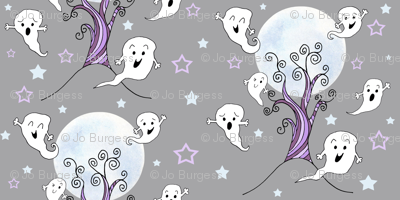cute ghosts enjoying halloween