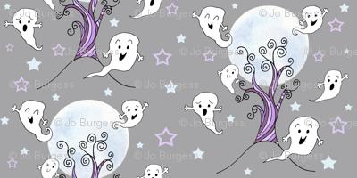 cute ghosts enjoying halloween