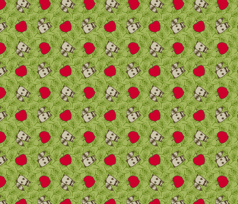 Apples and Raccoons fabric by siya on Spoonflower - custom fabric
