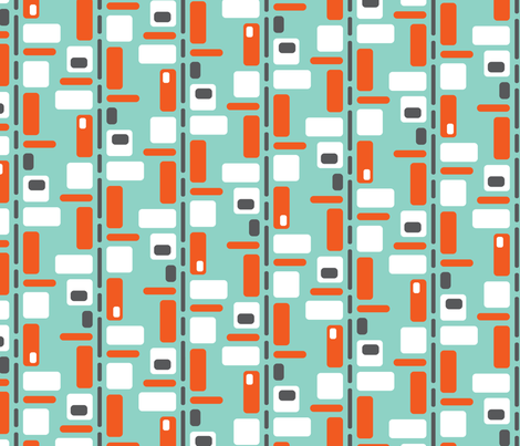 Blocked Blue Orange fabric by zesti on Spoonflower - custom fabric