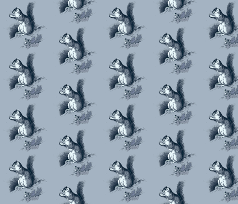 Squirrel in Blue fabric by hauteideas on Spoonflower - custom fabric