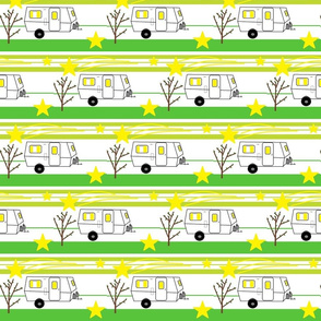 Travel Trailer Vintage Stars Stripes Green and Yellow