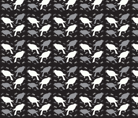 Crows and Ants Black and White fabric by tessiegirldesigns on Spoonflower - custom fabric
