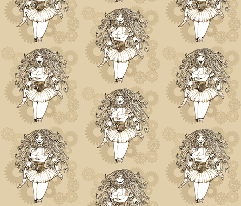steampunk robotgirl fabric by uzumakijo on Spoonflower - custom fabric