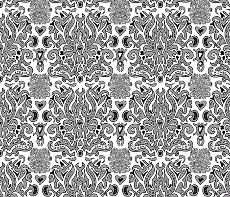 Hand-drawn_Damask fabric by bard_judith on Spoonflower - custom fabric