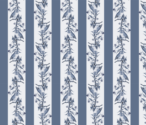 Owl Stripes (Dusty Blue) fabric by hauteideas on Spoonflower - custom fabric