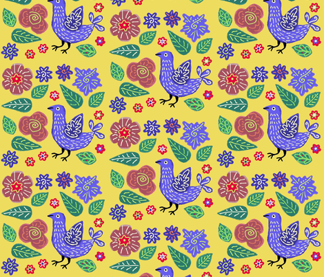Yellow Garden fabric by yellowstudio on Spoonflower - custom fabric