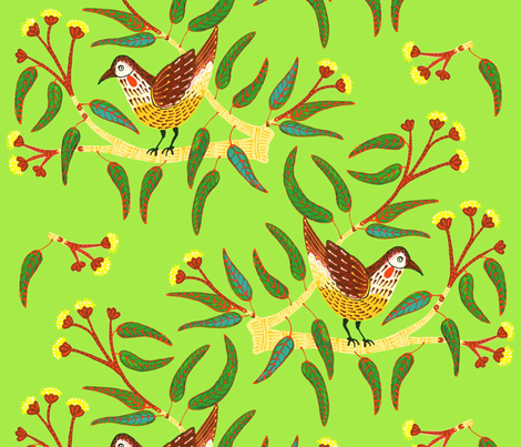 GreenWattleBird fabric by yellowstudio on Spoonflower - custom fabric