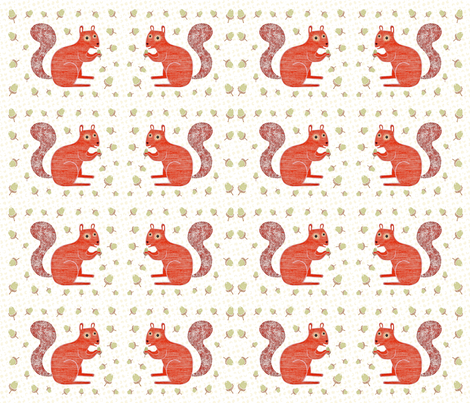 Squirrels and Acorns fabric by nataliedoodles on Spoonflower - custom fabric