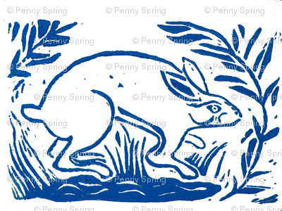 Rabbit block print