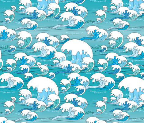 Waves Blue fabric by thickblackoutline on Spoonflower - custom fabric