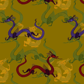 Multicolored Dragons on Brass