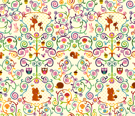 Rainbow woodland fabric by katiavial on Spoonflower - custom fabric