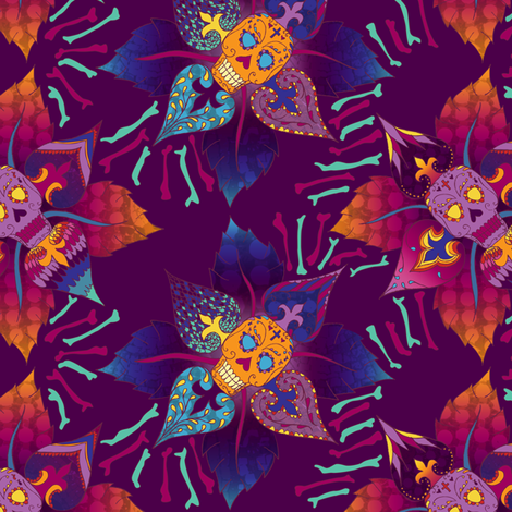 Beautiful Bones: Flor de Muerto fabric by jessicasoon on Spoonflower - custom fabric