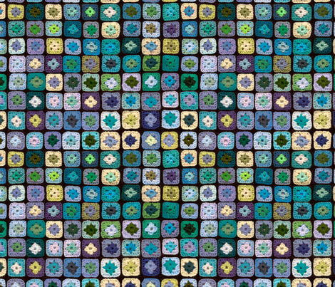 Granny Square Blue Green fabric by juliamonroe on Spoonflower - custom fabric