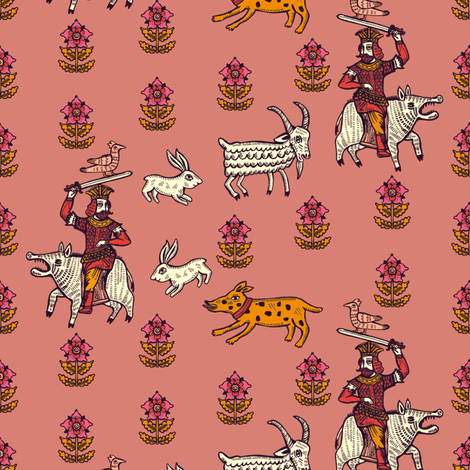 pigknight_pink fabric by ruusulampi on Spoonflower - custom fabric
