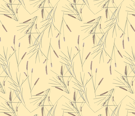 grasses_2_pale_yellow_back_ground fabric by victorialasher on Spoonflower - custom fabric