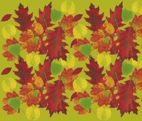 Fall Leaves Green Background fabric by owlandchickadee on Spoonflower - custom fabric