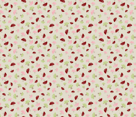 Mushroom Dance - Pink and Red fabric by inktreepress on Spoonflower - custom fabric
