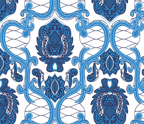 African Wax Print in Cobalt fabric by janelle_wooten on Spoonflower - custom fabric