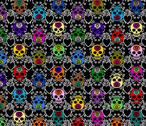 Simple DOTD skulls with sacred heart fabric by thirdhalfstudios on Spoonflower - custom fabric