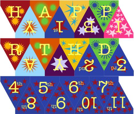 Happy Birthday Bunting fabric by fussypants on Spoonflower - custom fabric