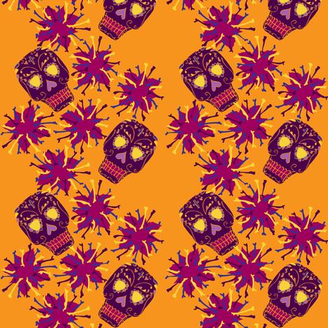 Beautiful Bones: Fiesta - Tangerine fabric by jessicasoon on Spoonflower - custom fabric