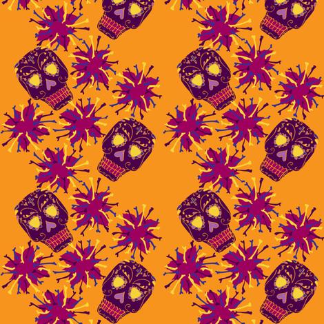 Beautiful Bones: Fiesta - Tangerine fabric by jessicasoon on Spoonflower - custom fabric