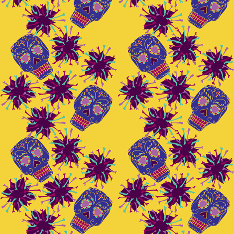 Beautiful Bones: Fiesta - Gold fabric by jessicasoon on Spoonflower - custom fabric