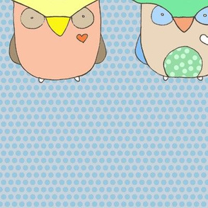Baby Owls - Blue Polka Dots