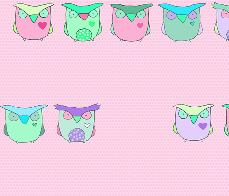 Baby Owls - Pink Polka Dots fabric by pocketcarnival on Spoonflower - custom fabric