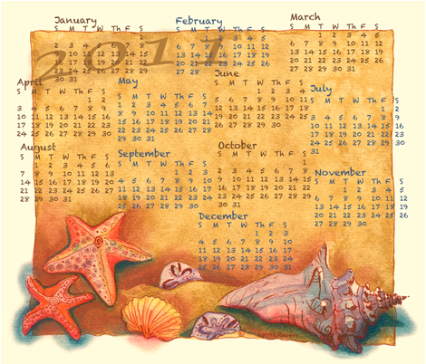 2011 Seashore Calendar Towel fabric by twobloom on Spoonflower - custom fabric