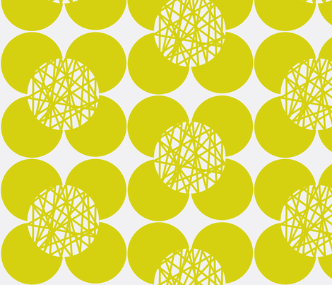 Fifties Flower Chartreuse fabric by joheadington on Spoonflower - custom fabric
