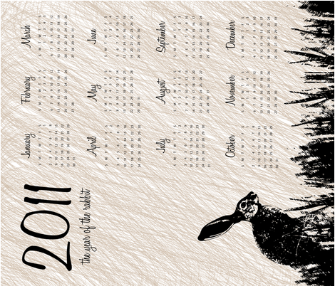 2011 Year of the Rabbit Calendar fabric by wildnotions on Spoonflower - custom fabric