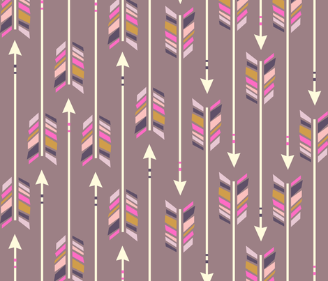 Large Arrows: Pale Aubergine fabric by nadiahassan on Spoonflower - custom fabric
