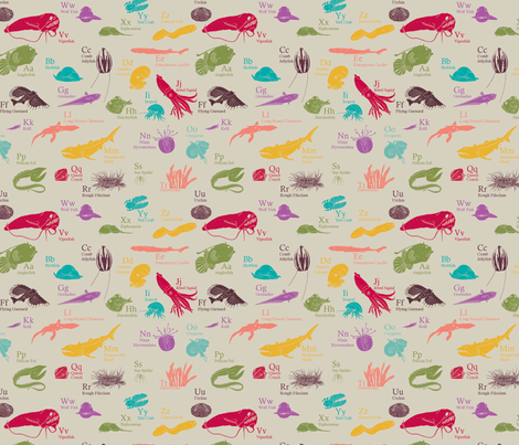 Deep Sea Alphabet fabric by maile on Spoonflower - custom fabric